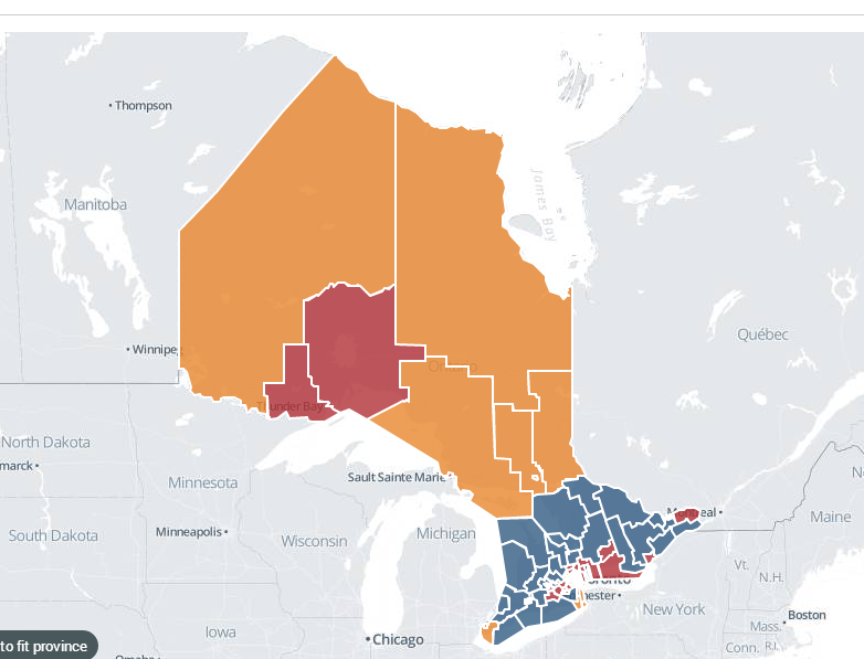 Ontario 2014 Election Results  Liberal Win Red color